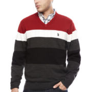 U.S. Polo Assn.® Long-Sleeve Striped V-Neck Sweater