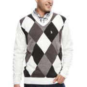 U.S. Polo Assn.® Long-Sleeve Argyle V-Neck Sweater
