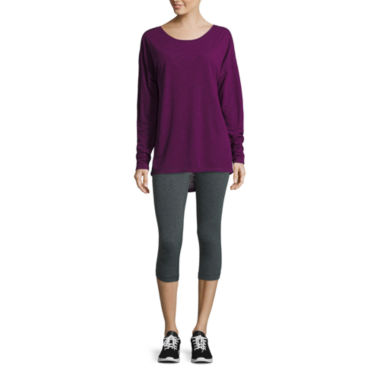 jcpenney.com | Xersion™ Studio Long-Sleeve Cross-Back Tee or Studio Cotton Capris