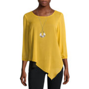 Alyx® Long-Sleeve Asymmetrical Woven Necklace Top
