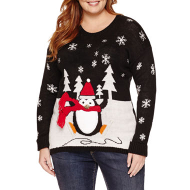 jcpenney.com | Tiara International Round Neck Knit Pullover Sweater - Plus