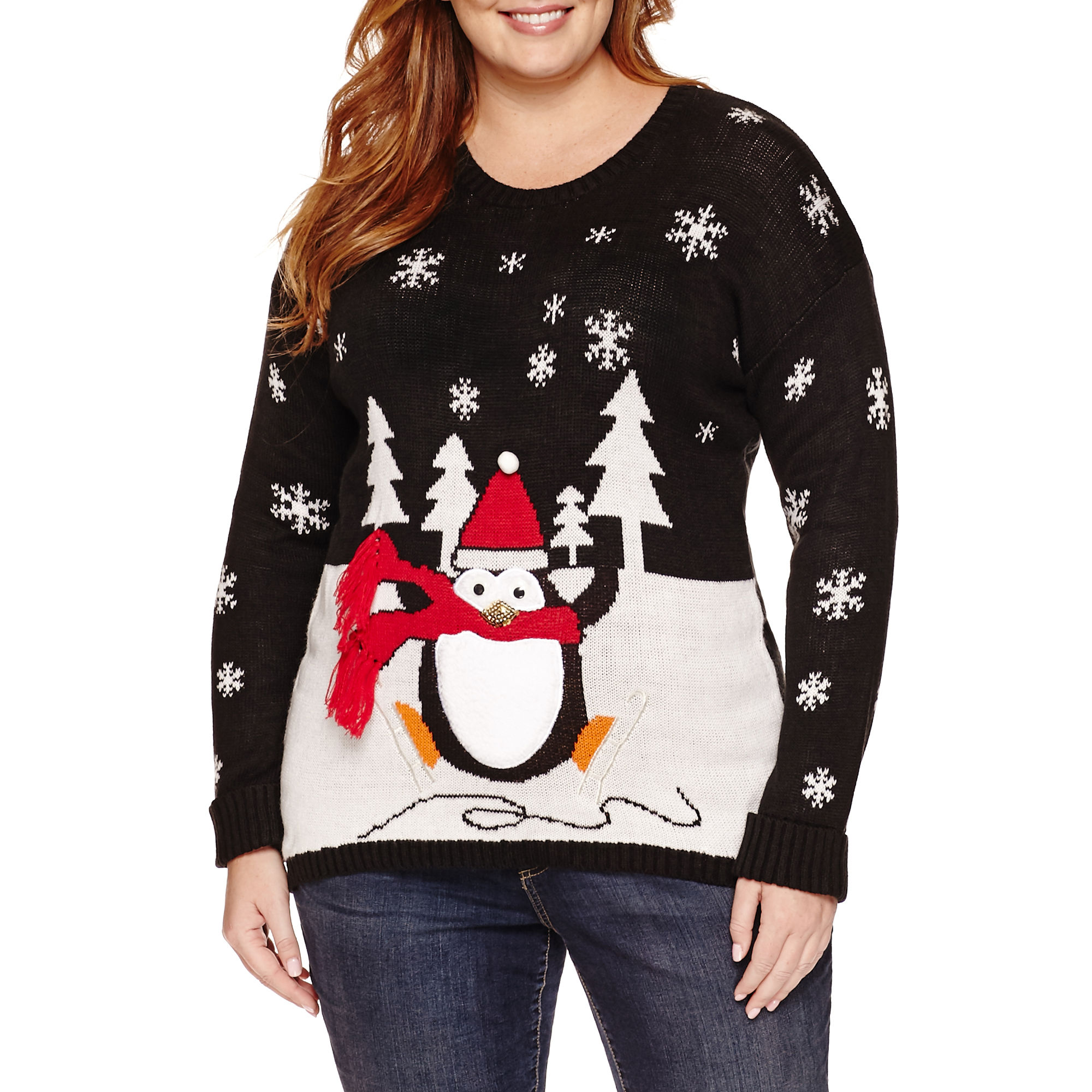 Tiara International Round Neck Knit Pullover Sweater - Plus