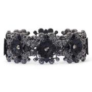 Jet Crystal Flower Stretch Bracelet
