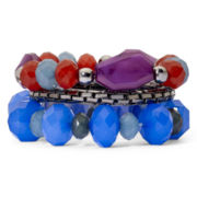 Hematite Mesh & Multicolor Bead 3-pc. Stretch Bracelets