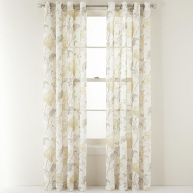 jcpenney.com | MarthaWindow™ Faded Floral Grommet-Top Sheer Panel