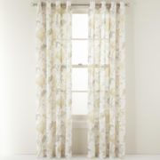 MarthaWindow™ Faded Floral Grommet-Top Sheer Panel