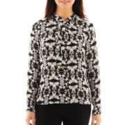 Worthington® Long-Sleeve Button-Front Bow Blouse