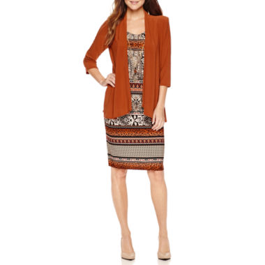 jcpenney.com | R & M Richards 3/4 Sleeve Necklace Jacket Dress