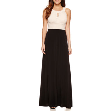 jcpenney.com | Melrose Sleeveless Keyhole-Neck Ruched-Waist Evening Gown - Petite