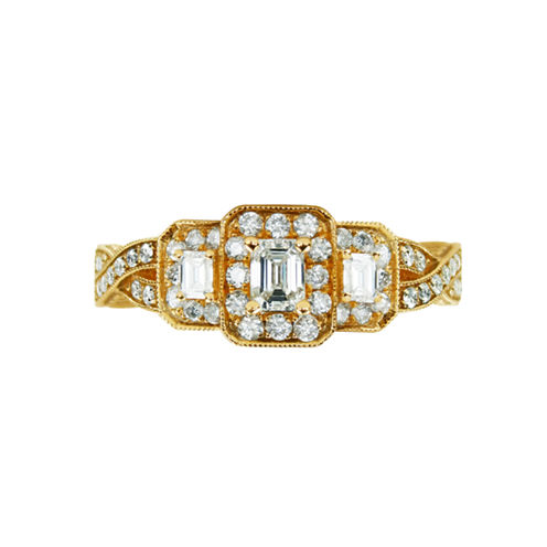 LIMITED QUANTITIES! Womens 1 CT. T.W. Emerald White Diamond 14K Gold Engagement Ring