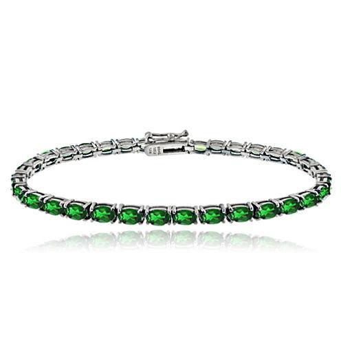 Womens 7.25 Inch Green Sterling Silver Link Bracelet