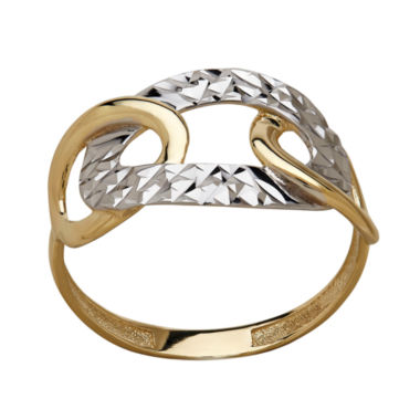 jcpenney.com | LIMITED QUANTITIES! 10K Two-Tone Gold Polished Diamond-Cut Interlocking Oval Ring