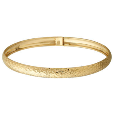 jcpenney.com | LIMITED QUANTITIES! 14K Yellow Gold Polished Diamond-Cut 6mm Flex Bangle Bracelet