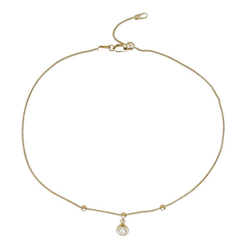 LIMITED QUANTITIES! 10K Yellow Gold Polished CZ Chain Ankle Bracelet