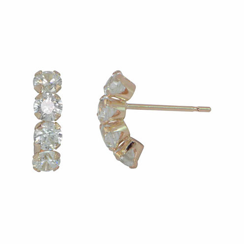 Cubic Zirconia 10K Gold Drop Earrings