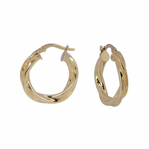14K Yellow Gold Polished Twisted Hoop Earrings