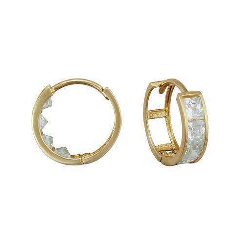 14K Gold Cubic Zirconia Hoop Earrings