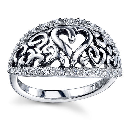 Inspired Moments Womens White Cubic Zirconia Band