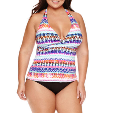 jcpenney.com | a.n.a Ikat Stripe Halter Tankini or Mid-waist Hipster - Plus