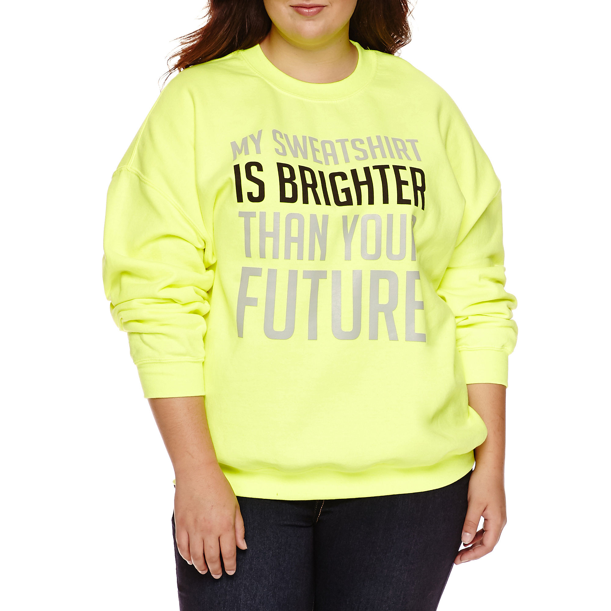 Long Sleeve Pullover Sweater-Juniors Plus plus size,  plus size fashion plus size appare