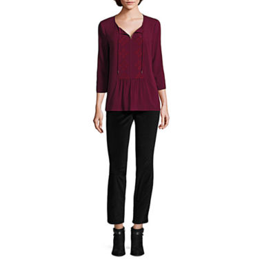 jcpenney.com | Liz Claiborne® 3/4 Sleeve Tie Neck Bib Blouse And Slim Fit Velveteen Ankle Pant