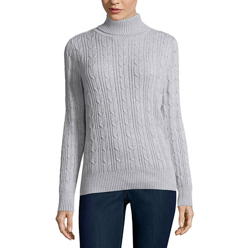 St. John's Bay® Essential Long-Sleeve Cable-Knit Turtleneck Sweater - Tall