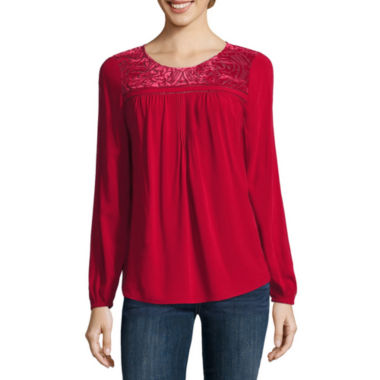 jcpenney.com | St. John`S Bay  3/4 Sleeve Burnout Woven Blouse Sweater-Talls