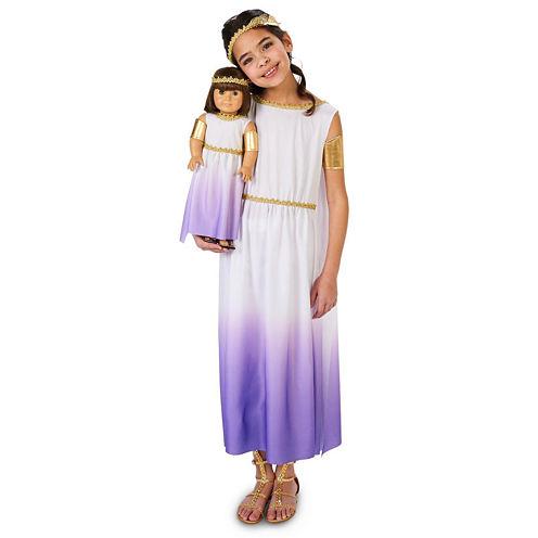 Purple Passion Greek Goddess Child Costume with Matching 18 Doll Costume