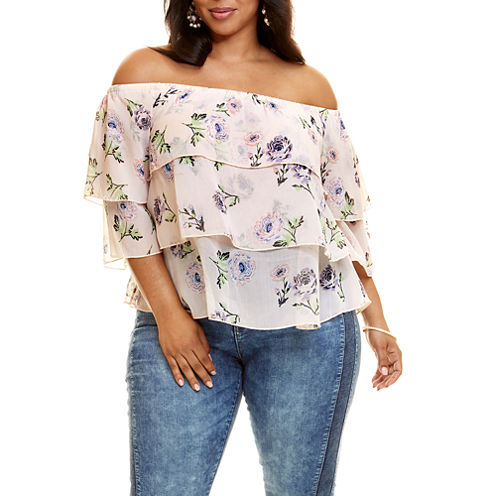 Fashion to Figure Aries Floral Ruffle Tiered Blouse - Plus