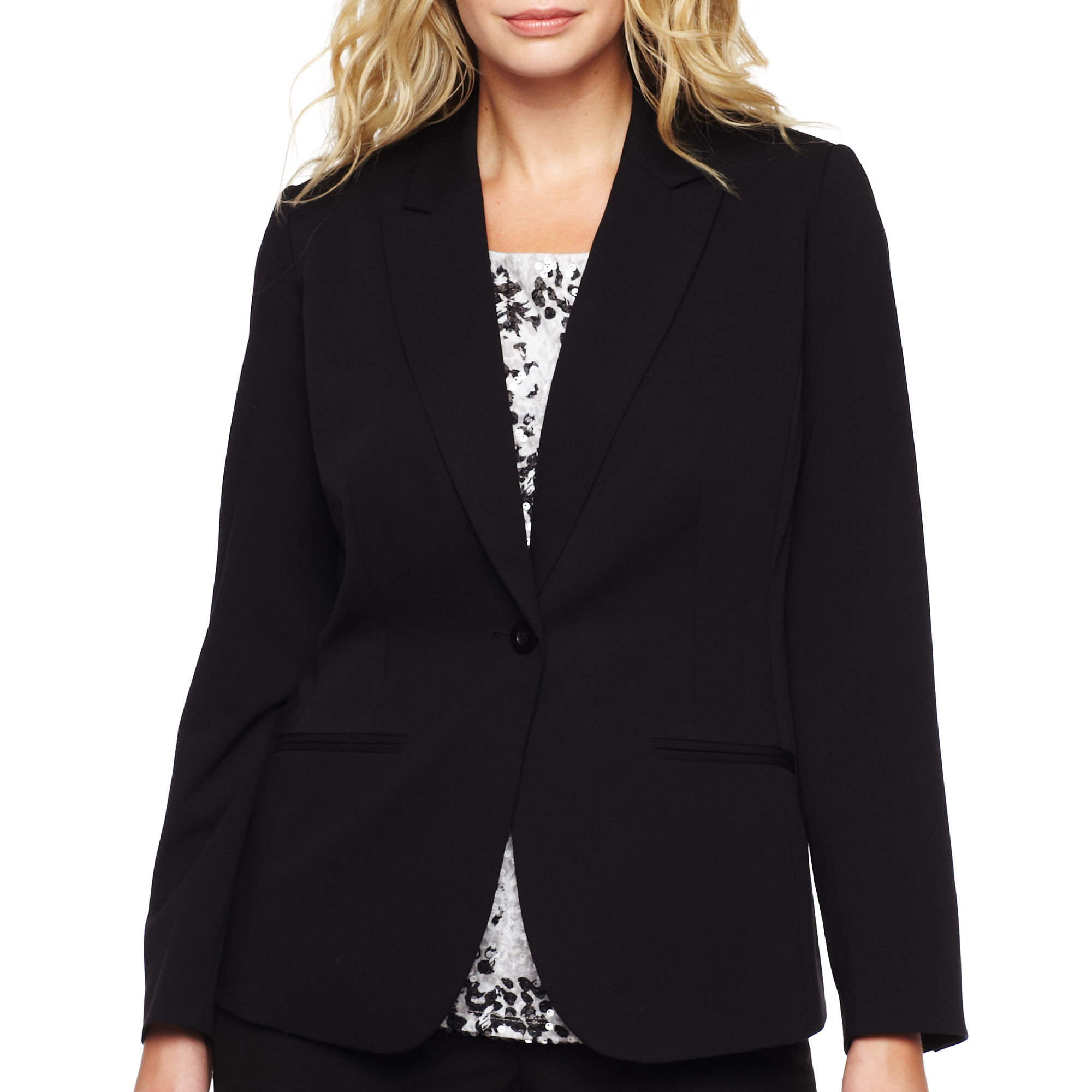 Liz Claiborne One-Button Peak Label Blazer - Plus plus size,  plus size fashion plus size appare