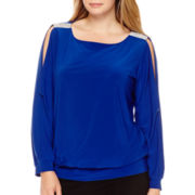 Prelude Long-Sleeve Embellished-Shoulder Top - Plus