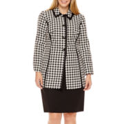Isabella Houndstooth Jacket and Solid Skirt Suit - Plus
