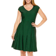 J. Taylor Sleeveless Jacquard Fit-and-Flare Dress - Plus