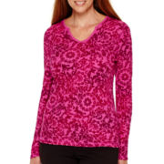Made For Life™ Long-Sleeve Medallion Print Notch-Neck Thermal T-Shirt - Tall