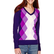 St. John's Bay® Long-Sleeve Argyle V-Neck Sweater - Tall