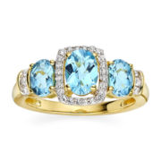 Genuine Blue Topaz and Lab-Created White Sapphire 14K Yellow Gold Over Sterling Silver Ring
