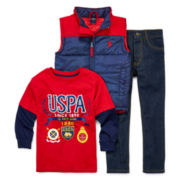 U.S. Polo Assn.® Vest, Tee and Jeans Set - Preschool Boys 4-7