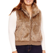 Arizona Zip-Front Faux-Fur Vest - Juniors Plus