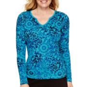 Made For Life™ Long-Sleeve Notch-Neck Thermal T-Shirt - Petite