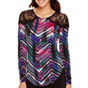 Bisou Bisou® Long-Sleeve Print Lace Shoulder Shirred T-Shirt