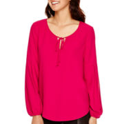 Bisou Bisou® Long-Sleeve Tie-Neck Blouse
