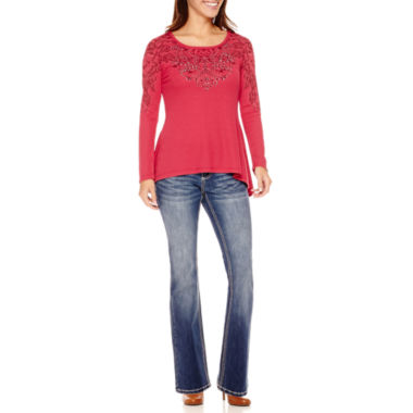 jcpenney.com | UNITY™ Thermal T-Shirt or Love Indigo Embellished Jeans - Petite