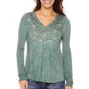 Unity™ Long-Sleeve Lattice Peasant Top - Petite