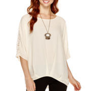Alyx® 3/4-Sleeve High-Low Top with Necklace