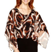 Alyx® Elbow-Sleeve Animal Print Necklace Blouson Top