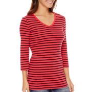 St. John's Bay® 3/4-Sleeve Essential V-Neck T-Shirt- Petite