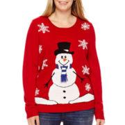 By Design Long-Sleeve Single Snowman Christmas Sweater - Plus