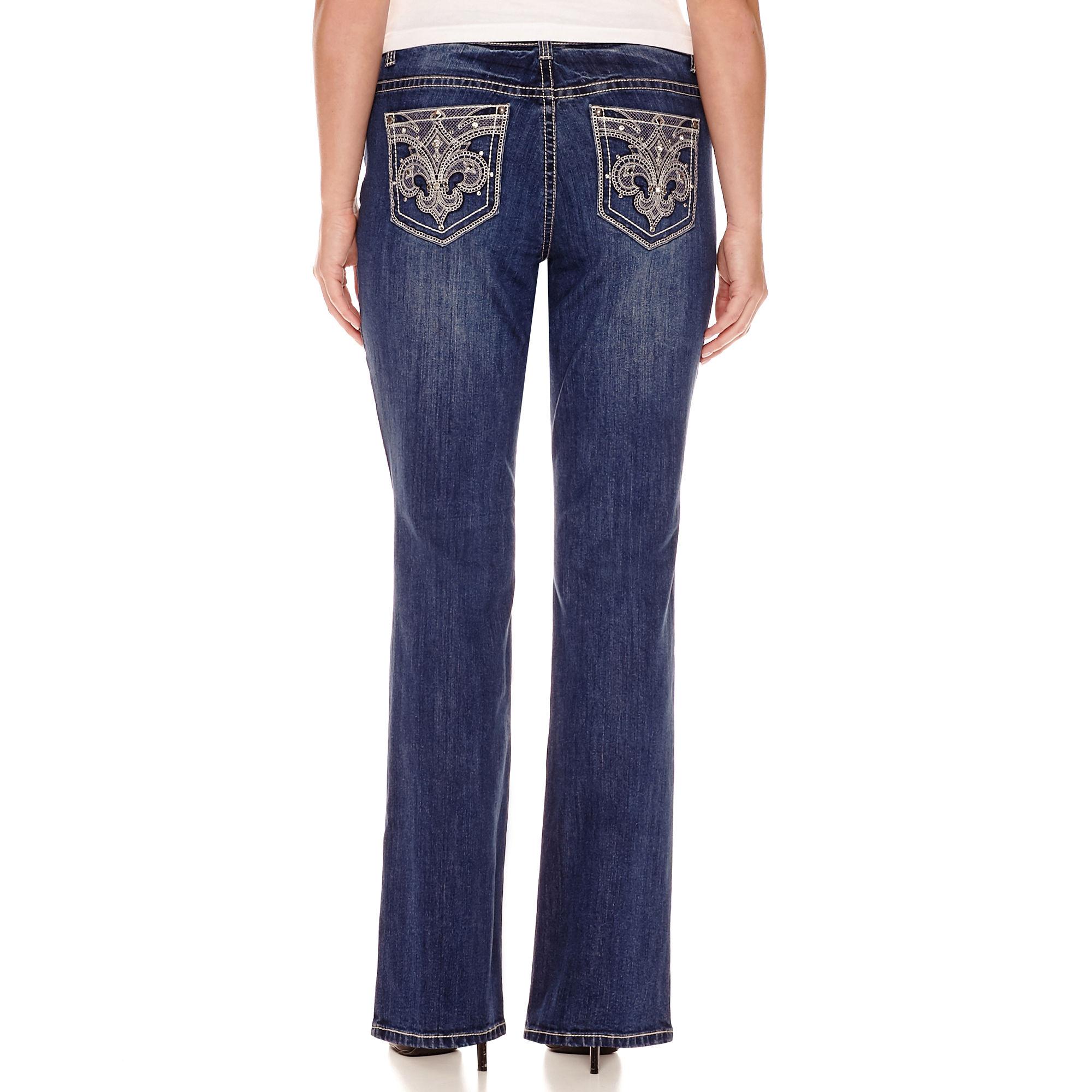 ZCO Bling Fleur de Lis Embellished Back Pocket Jeans - Plus