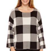 Worthington® 3/4-Sleeve Button-Back Sweater - Plus