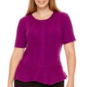 Worthington® Short-Sleeve Peplum Sweater - Plus